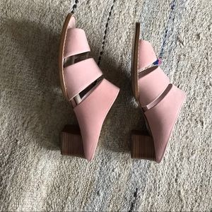 Vintage blush pink scrappy mules